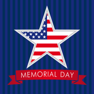 Memorial Day with star in national flag colors. Memorial day USA star